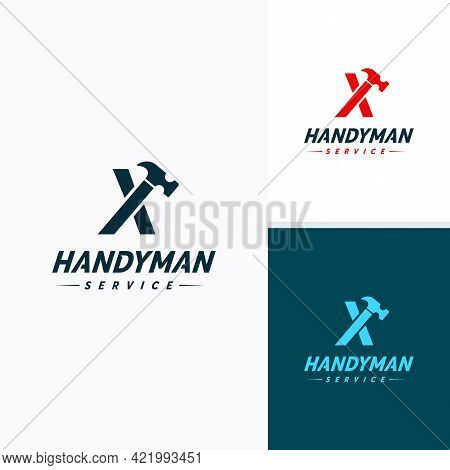 Handyman Services Logo Vector Design, Letter X Hammer Logo