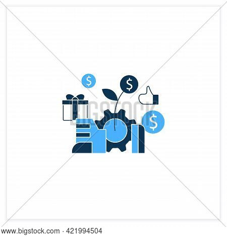 Economic Expansion Flat Icon.increase In Economic Level Activity. Rise In Gdp. Universal Basic Incom