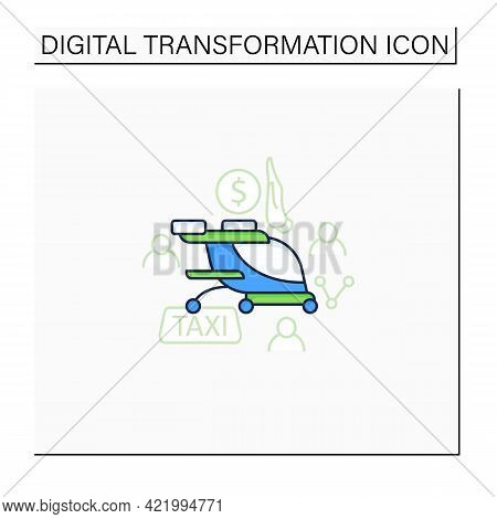 Free Air Taxi Color Icon. Modern Technologies. Future. Available Services.digital Transformation Con