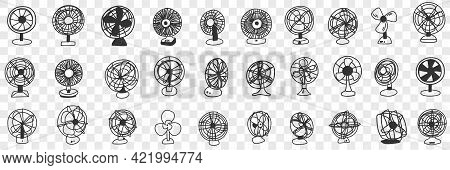 Different Blowing Fans Doodle Set. Collection Of Hand Drawn Various Fans For Blowing Air And Air Con