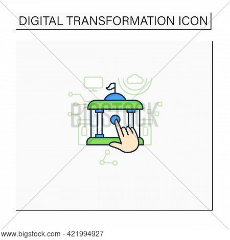 Electronic Government Color Icon. Modern Technologies. Digitalization. Solving Public Affairs Online