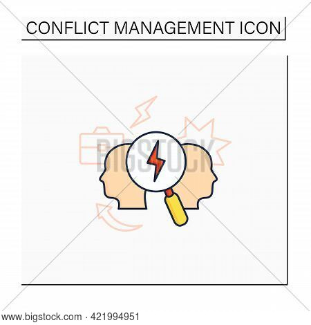 Conflict Analysis Color Icon. Search Conflict Causes. Dispute Between Colleagues. Disagreement At Wo