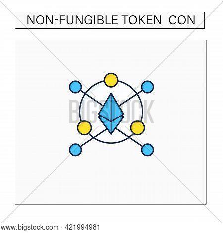 Ethereum Blockchain Color Icon.software Platform.open-source, Blockchain-based, Decentralized. Digit