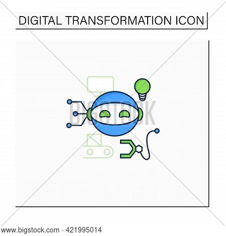 Robot Color Icon. Smart Production Robot. Robotizing. Modern Technologies. Future. Available Service