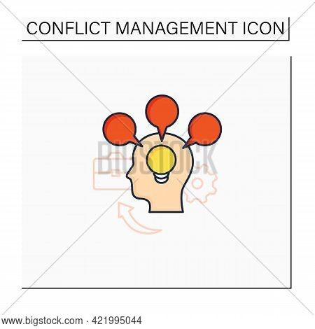 Accommodating Color Icon.focuses On Preserving Relationships. Great Idea. Overthinking. Conflict Man