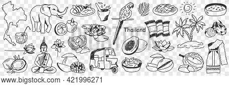 Thailand Cultural Symbols Doodle Set. Collection Of Hand Drawn Various Thai Signs Elephant Parrot Bu