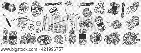 Production Of Wool Doodle Set. Collection Of Hand Drawn Wool For Knitting And Sewing And Sheep For C