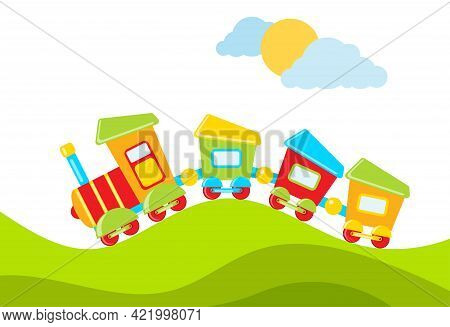 A Toy Train Rides Against The Background Of A Natural Landscape. Vector Illustration. Vector.