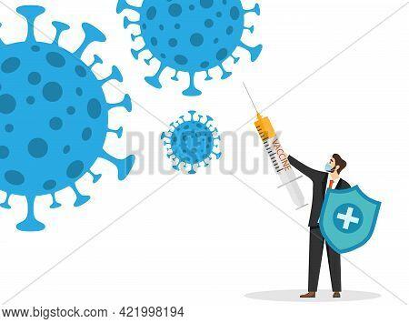 Coronavirus Vaccine, A Man With A Syringe And A Shield Protects Against The Coronavirus. Vector Illu