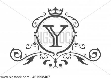 Stylized Letter Y Of The Latin Alphabet. Monogram Template With Ornament And Crown For Design Of Ial
