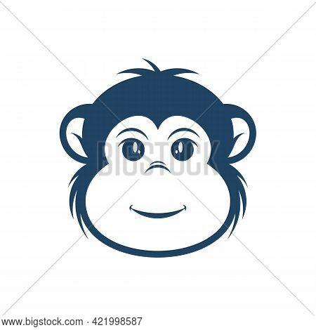 Head Monkey Vector Illustration. Head Monkey Logo Design Concept Template. Creative Symbol