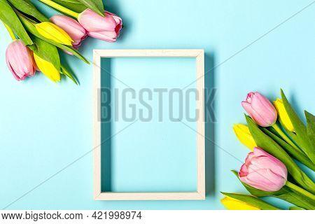 Fresh Pink Tulip Flowers On Pastel Blu