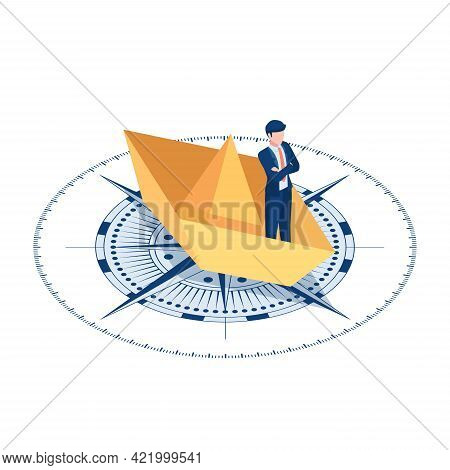 Flat 3d Isometric Businessman Standing On Paper Boat Over The Compass. Business And Leadership Conce