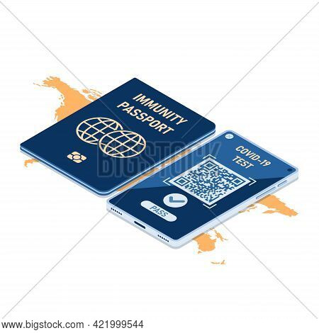 Flat 3d Isometric Immunity Passport And Smartphone With Digital Vaccination Certificate For Covid-19