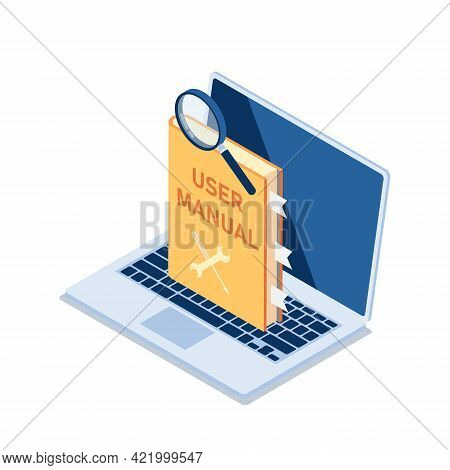 Flat 3d Isometric User Manual With Magnifying Glass On Laptop Monitor. User Manual Guide Concept.