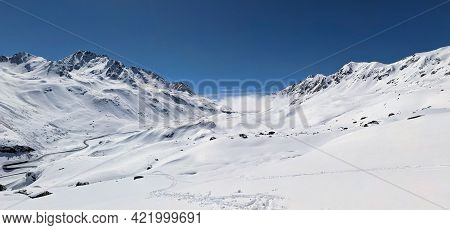 Panorama Winter Picture. Beautiful Winter Landscape In The Winter Spring Time. View Of The Auto Flue