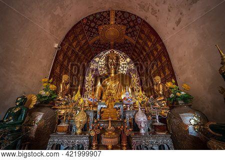 Buddha Statue At Wat Chet Yot Or Wat Photharam Maha Wihan, Seven Pagoda Temple It Is A Major Tourist