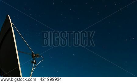The Night Starry Sky Against Of A Satellite Dish.exploring The Cosmos And The Stars.astrology,astrop