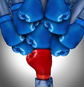 Overcoming adversity and conquering challenges as a group of blue boxing gloves ganging up on a single red glove as a business symbol of difficult competition environment poster
