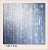 Grey shiny rain. Abstract water background design. Rainy weather vector silver background with falling in transparent drops water raindrops on window ripple texture and blurred lights in wet day poster
