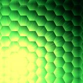 abstract green background with hexagons and shining yellow lights poster