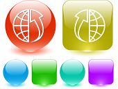 Globe and array up. Interface element. Raster illustration. poster