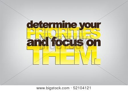 Determine your priorities and focus on them. Motivational background. poster