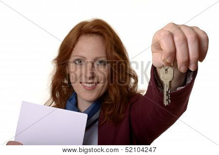 Woman With Keys Smiling