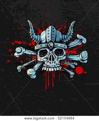 Halloween skull in helmet with horns and bones on Bloody background - EPS10 vector illustration