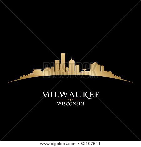 Milwaukee Wisconsin City Skyline Silhouette Black Background