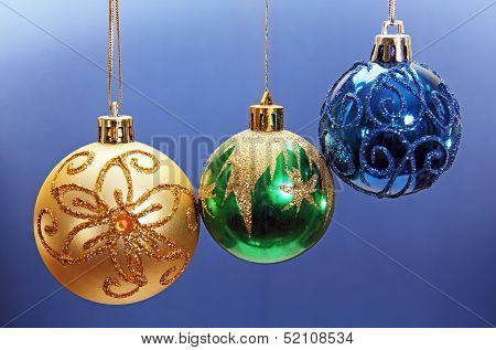 Three Colored Christmas Balls.