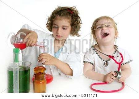 Girls Pretending To Be Doctor In Laboratory
