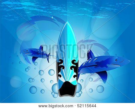 Shark with surfboard