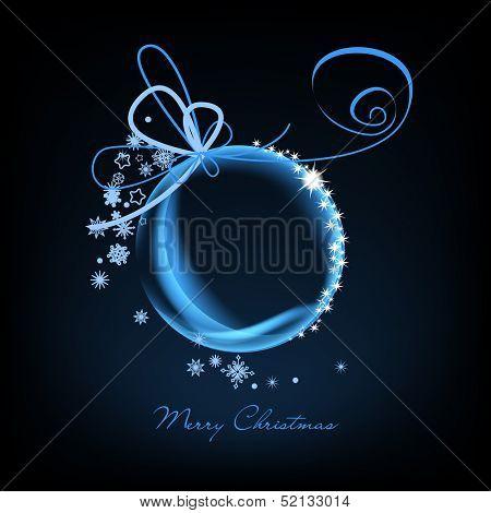 Christmas card, sparkling glass Christmas ball over dark background