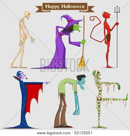 illustration of collection of Halloween Character