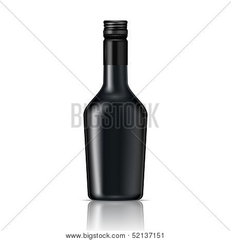 Black glass liqueur bottle with screw cap.. Vector illustration. poster
