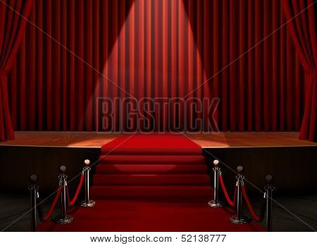 Red Carpet And Stage With Security Barrier