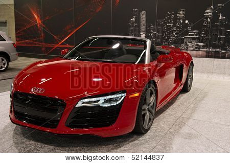 ANAHEIM, CA - OCTOBER 3: An Audi R8 V10 Spyder on display at the Orange County International Auto Show in Anaheim, CA on October 3, 2013.