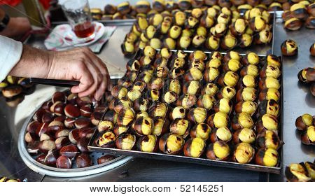 Roasted Chestnuts on sale in Istanbul