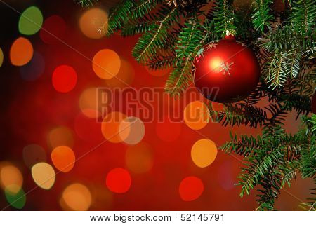 Christmas Tree Bauble On Luminous Background