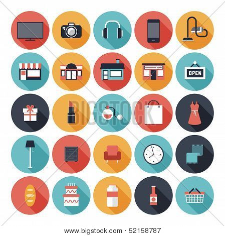 Modern flat icons vector set with long shadow effect in stylish colors of shopping objects and items. Isolated on white background. poster