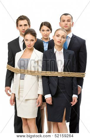 Group of business people tied with rope, isolated on white. Concept of routine work and slavery