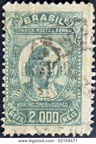 Brazil - Circa 1930: A Stamp Printed In Brazil Shows Bartolomeu Lourenco De Gusmao, Circa 1930