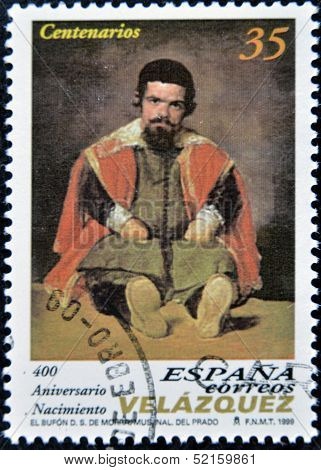 A stamp printed in spain shows the painting