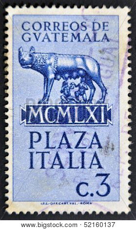 stamp printed in Guatemala shows Capitoline wolf suckled Romulus and Remus
