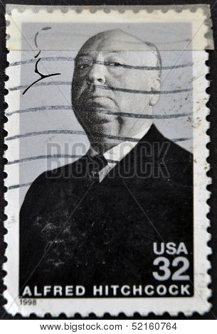 stamp printed in USA show popular 1960s American writer Alfred Hitchcock
