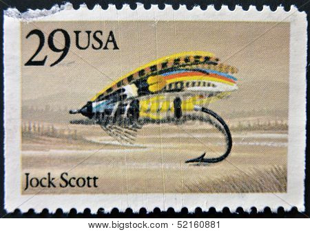 Usa - Circa 1980: A Stamp Printed In Usa Shows Image Of The Dedicated To The Fishing Jock Scott