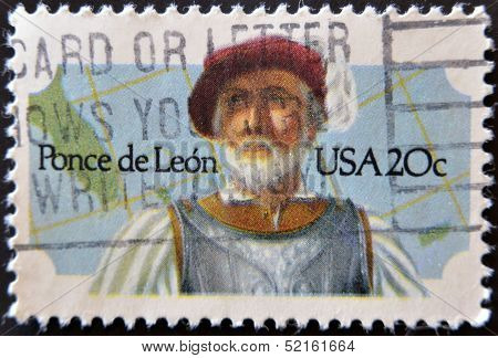 stamp printed by United states shows Ponce de Leon,  one of the discoverers of America