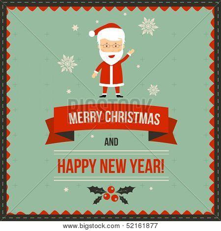 Christmas greeting banner with Santa