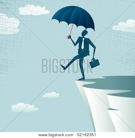 Abstract Businessman walks off a cliff.